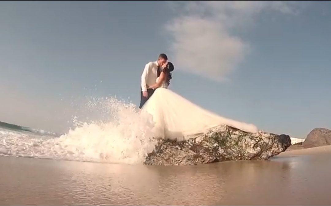 Fotógrafo Bodas Pontevedra, postboda con Dron en la playa