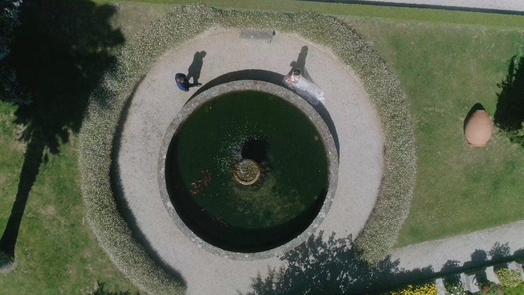 Fuente Pazo Montesclaros vista dron