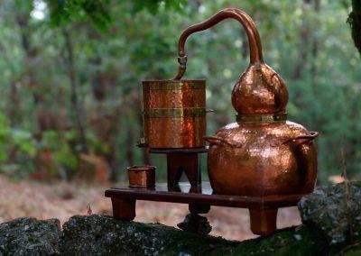 Alambique de cobre en el bosque